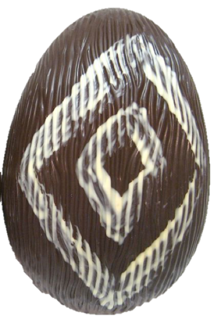 Hollow dark chocolate art egg 215mm high $35.00