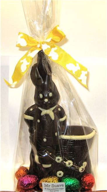 """""""Mr. Suave"""" hollow bunny decorated -235mm- dark $27.50"""