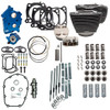 S&S Cycle Big Bore Kit Power Package 124 inch CI Oil Cooled with Highlighted Fins for 107 inch Harley-Davidson M8 - Chain Drive Cam - Chrome pushrod tubes