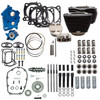 S&S Cycle Big Bore Kit Cycle Power Package 124 inch CI Oil Cooled with Non Highlighted Fins, Gear Drive Cam for 107 inch Harley-Davidson M8 - Gloss Black pushrod tubes
