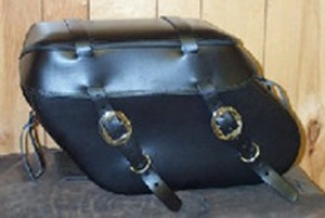 Leather Pro 3100 Series Leather Saddlebags for Dyna '93-Up (Click for Details)  -Plain with Cargo Strips