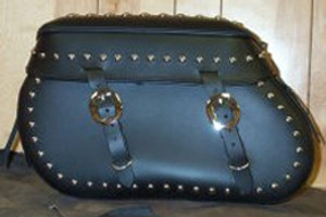 Leather Pro 4000 Series Leather Saddlebags for Harley Softails w/ Stock Exhaust  (NOT for Fat Boy/Deuce/Deluxe) -All Studded