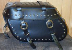 Leather Pro 3200 Series Leather Saddlebags for Harley Softails w/ Stock Exhaust  (NOT for Deuce) -Studded & Cargo Straps