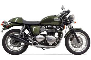 Bassani Exhaust 4-inch Slip On Performance Mufflers for '04-15 Thruxton -Black Coated Cone Shaped, Tapered End Caps w/ Contrasting Flutes