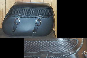 Leather Pro 4000 Series Leather Saddlebags for Harley Softails w/ Stock Exhaust  (NOT for Fat Boy/Deuce/Deluxe) -Basketweave & Braiding
