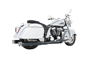 Freedom Performance Exhaust Dual System w/ 4 inch Racing Mufflers for Indian Chief Deluxe/Roadmaster/Standard & Vintage '09-13 -Black w/ Chrome End Caps