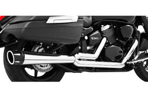 Freedom Performance Combat Outlaws 2-Into-1 Exhaust for '03-09 VTX1300C/R/S    -Chrome w/ Chrome Tip (Shown with Black Tip)