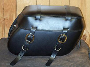 Leather Pro 3000 Series Leather Saddlebags for Sportster XL '94-Up -Plain with Cargo Straps