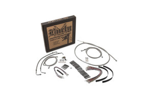 """Burly Brand   Braided Stainless Steel Cable/Line Kits   For 15"""" Burly Ape Hangers   Fits 08-13 FLHX/FLHT/C/U With ABS"""
