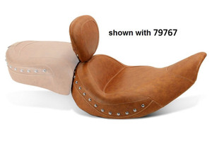 Mustang Seats Wide Touring Solo Seat w/ Driver Backest for '14-Up Indian Chief/Chieftain  -Brown Studded