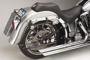 Cycle Visions Bagger-Tail Black bag Mounts for '86-07 FLST/C/N w/ Lo-Mount Exhaust  Saddlebags sold separately -Black