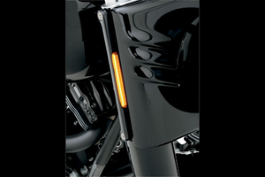 Alloy Art LED Front Signal Lights for Harley Davidson FLHR '94-14 -w/ Smoked lens/Amber LEDs, Black anodized