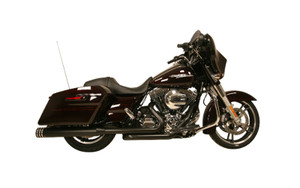 Rush Racing Big Louie 4 inch Slip On Mufflers and Tip Package for Harley Davidson Touring Models '17-Up - Black