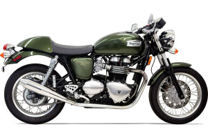 Bassani Exhaust 4-inch Slip On Performance Mufflers for '04-15 Thruxton -Polished Cone Shaped, Tapered End Caps