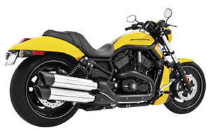 Freedom Performance Exhaust Rolled Edge Slip Ons for '06-08 Night Rods & '07-14 Night Rod Specials -Chrome w/ Black Tip