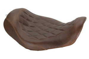 Mustang  Wide Tripper Solo Seat for '06-Up Dyna/Wide Glide Models -Diamond Stitch Pattern-Brown Distreseed