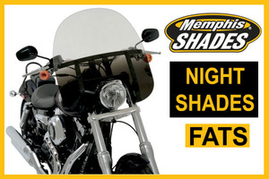 Memphis  Shades Fats Windshield  New! Night Shades BLACK -Choose a Height  Hardware SOLD SEPARATELY