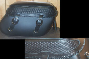 Leather Pro 3200 Series Leather Saddlebags for Harley Softails w/ Stock Exhaust  (NOT for Deuce) -Basketweave & Braiding