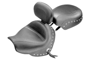 Mustang  Two-Piece Wide Seat with Driver Backrest  for Victory Vegas, Kingpin & 8-Ball '03-up -Studded NOT FOR KINGPIN TOUR/JACKPOT or HAMMER 8-BALL