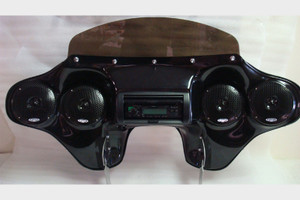 Hoppe Industries  Quadzilla Fairing w/Stereo Receiver  with Handlebar Controls  for '96-13 FLHR models (except FLHRS)