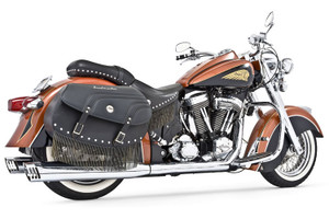 Freedom Performance Exhaust Dual System w/ 4 inch Racing Mufflers for Indian Chief Deluxe/Roadmaster/Standard & Vintage '09-13 -Chrome