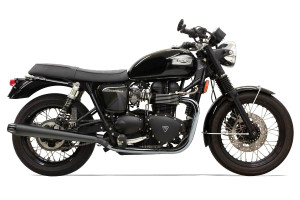 Bassani Exhaust 3.5-inch Slip On Performance Mufflers for '01-14 Bonneville T100 -Black Coated Cone Shaped, Tapered End Caps w/ Contrasting Flutes