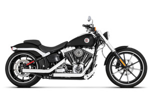 Rinehart Racing Kick Back Exhaust System  for '07-17 Softail Models Chrome with Black End Caps