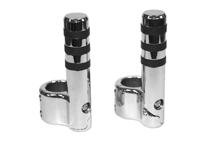 Lindby Clamp-On Footpegs -Chrome Wide Band -Pair