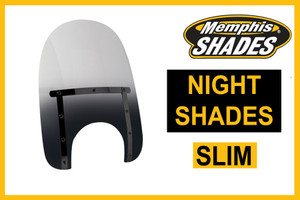Memphis  Shades Slim Windshield  New! Night Shades BLACK -Choose a Height  Hardware SOLD SEPARATELY