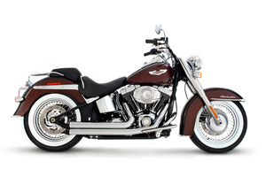 Rinehart 2-Into-2 Exhaust  for Softails '86-17 - Flush-cut, Black End Caps