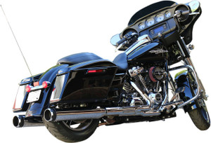 S&S Cycle MK45 4.5 inch Slip On Mufflers for '17-Up FL Touring Models - Chrome Thruster with Black Contrast Cut Tip