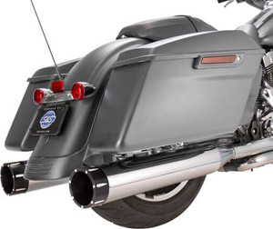 S&S Cycle MK45 4.5 inch Slip On Mufflers for '17-Up FL Touring Models - Chrome with Black Contrast Cut Tracer Tips
