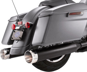 S&S Cycle MK45 4.5 inch Slip On Mufflers for '17-Up FL Touring Models - Black with Chrome Thruster Tips