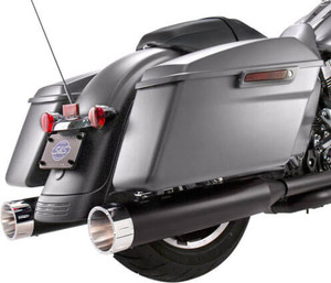 S&S Cycle MK45 4.5 inch Slip On Mufflers for '17-Up FL Touring Models - Black with Chrome Tracer Tips