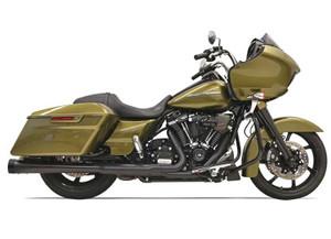 Bassani 4 inch Megaphone Muffler DNT for Harley Davidson Touring Models '17-Up - Black with Black End Caps