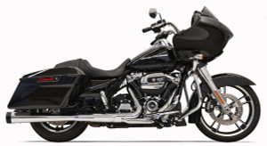 Bassani 4 inch Megaphone Mufflers DNT for Harley Davidson Touring Models '17-Up - Chrome with Black End Caps