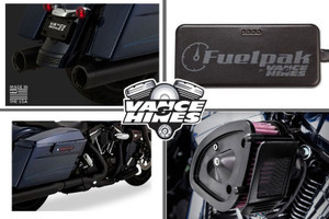 Vance & Hines Complete Stage 1 Power Package for '17-Up Harley Davidson Touring w/ Black Titan Slip Ons
