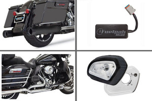 Bassani Complete Stage 1 Power Package  with DNT Slip on Black w/ Black End Cap for '17-Up Harley Davidson Touring Models