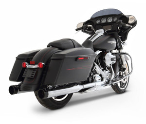Rinehart Racing 4 inch Slimline Dual Exhaust System for '17-Up Harley Davidson Touring Models - Chrome w Black End Caps