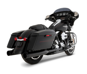 Rinehart Racing 4 inch Slimline Duals Exhaust System for Harley Davidson Touring Models '17 & Up -Black w/ Black End Caps