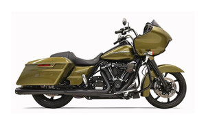 Bassani Crossover Eliminator with 4 inch Tapered Megaphone DNT Slip On Muffler for Harley Davidson Touring Models '17-Up - Black w/ Black Tip