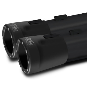 RCX 4 inch Slip On Mufflers with Big Boar Tips for Harley Davidson Touring Models '17-Up - Black w/ Eclipse Tips