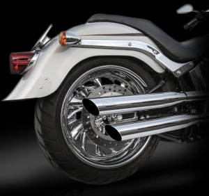 RCX 3 inch Slash Cut Slip-on Mufflers for Certain 2018 Softail Models - Select Finish