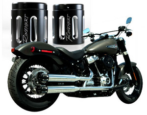Rinehart Racing 3.5 inch Slip On Mufflers for Softail Models '18-Up with Slot End Caps - Chrome with Black Slotted Endcaps (Click for fitment)