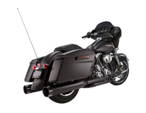S&S El Dorado True Dual Exhaust System for Harley Davidson Touring Models '17-Up - Black w/ Tracer End caps