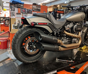 TAB Performance Slip On Mufflers for Harley Davidson Fat Bob Softail Models '18-Up (Choose Chrome or Black)