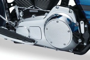 Kuryakyn Derby Cover for '15-Up Twin Cam & Milwaukee-Eight Touring & Trike - Finned (Choose Chrome or Satin Black & Machined)