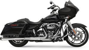 Bassani 4 inch Megaphone Slip On Mufflers for Harley Davidson FL Models '17-Up - Chrome with Black End Cap