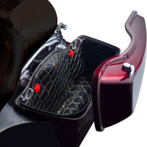 Saddlebag Liners for 2014-Up 4.5 inch Stretched Saddlebags - Sold in Pairs (Select Stitching Color)