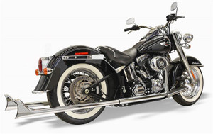 Bassani True Dual Exhaust System with 39 inch Fishtail Mufflers for '89-17 Harley Davidson Softail Models - Chrome